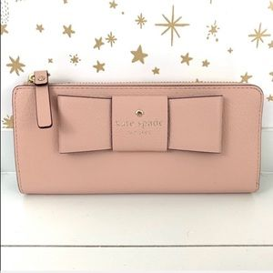 Kate Spade | Pink Bow Zip Around Nisha Wallet NWT